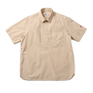 Flin Chambray Short Sleeve Pullover shirts Beige_Japan Fabric