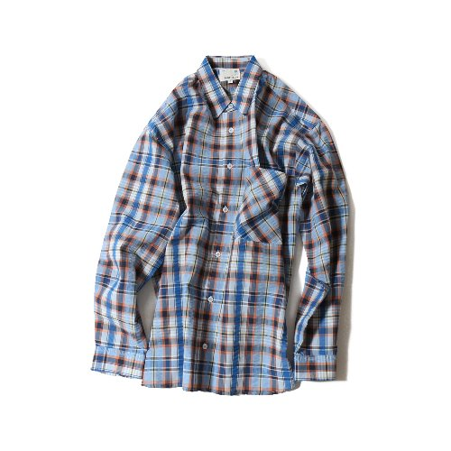 20SS Maili Seersucker Multi Check Loosefit Shirts Blue
