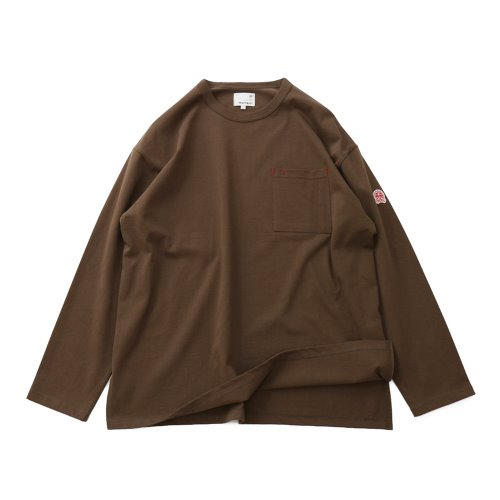 20FW Lawrence Overfit Long Sleeve Pocket T-shirts Light Brown