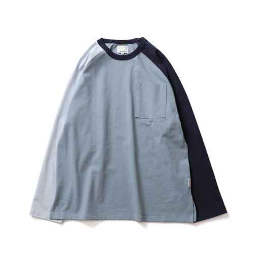 21SS Fairview Raglan Color Variation Pocket T-shirts Blue Navy